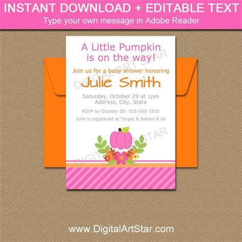 Fall Baby Shower Invitation Template Autumn Baby Shower Invitation Pink Pumpkin Invitation Fall Baby Shower Invitation Templates