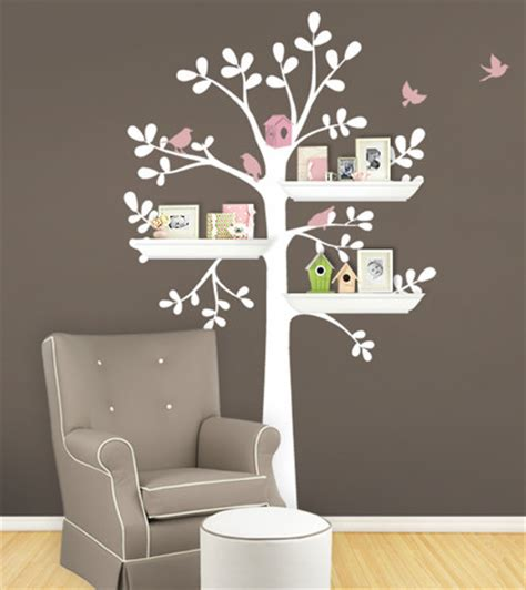 tree wall sticker with shelves shelving tree wall decal color scheme b standard 55 quot w