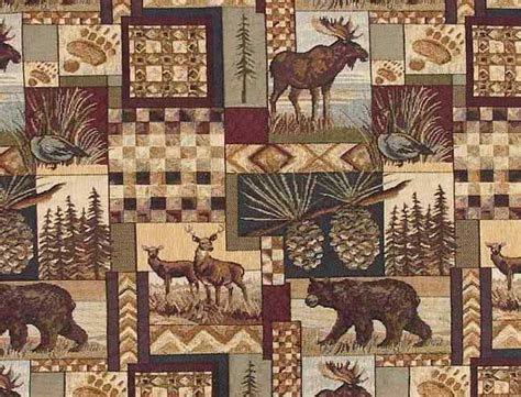 lodge style upholstery fabric rustic lodge fabric wildlife moose deer bear