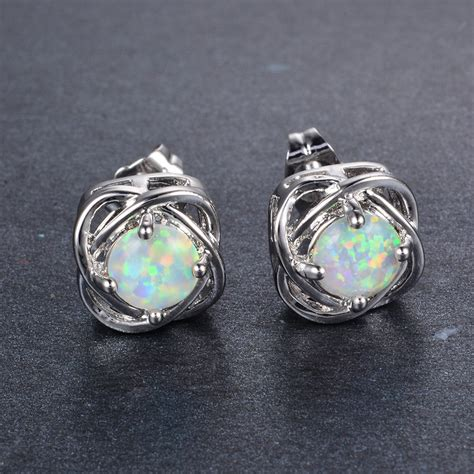 white opal earrings four claw white opal stud earrings s