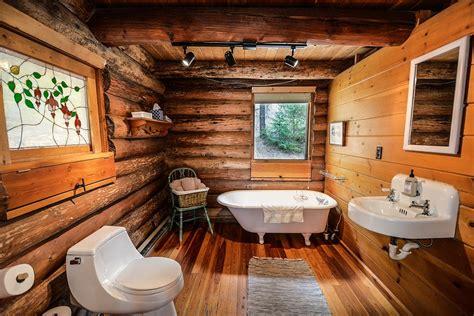 photo log home log home bathroom  image