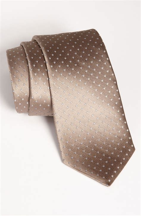 michael kors woven silk tie in brown for taupe lyst
