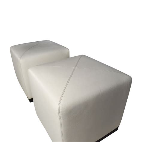 Ottoman White Leather 68 Pair Of White Leather Ottoman Cubes Storage
