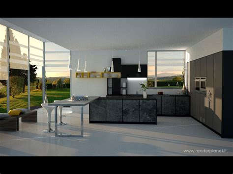 modern kitchen interior 3d rendering contemporary kitchen rendering