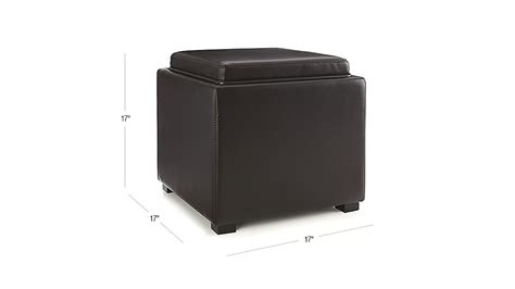 crate and barrel stow storage ottoman stow chocolate 17 quot leather storage ottoman crate and barrel