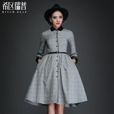 Black White Plaid Sleeved Collar Dress vintage 50s white black stripe plaid 3 4 sleeve pan collar swing midi shirt dress