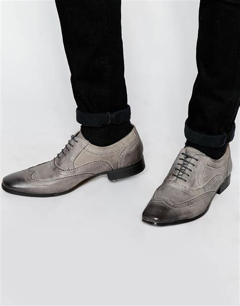mens gray oxford shoes lyst asos oxford brogue shoes in grey leather with