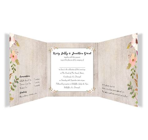 tri fold pocket wedding invitation card with rsvp envelope navy blue