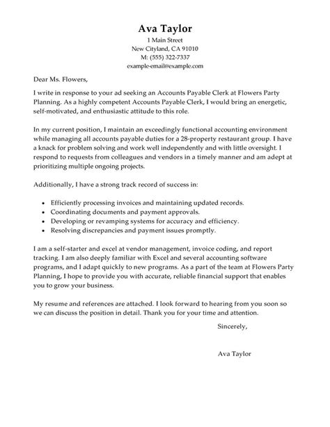 amazing cover letters exles sle cover letter for accounts payable clerk