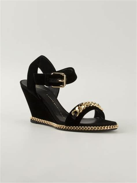 giuseppe zanotti gold sandals giuseppe zanotti gold chain wedge sandals in gold black