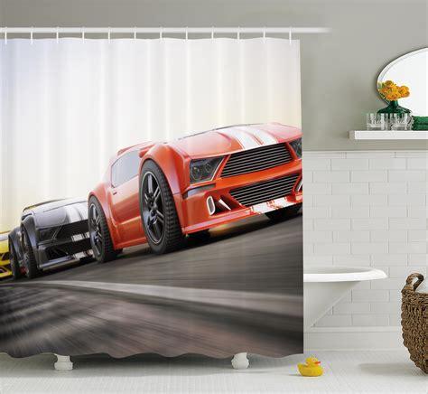 sports bathroom cars decor shower curtain sports highway race bathroom