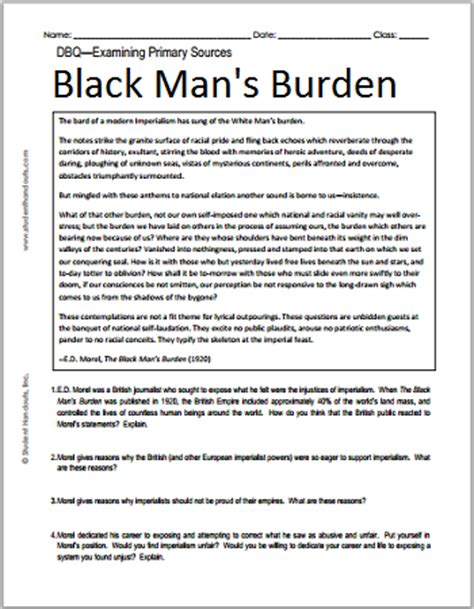 imperialism in africa worksheet e d morel s the black s burden free printable imperialism dbq