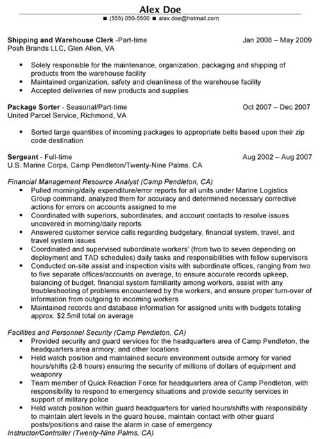 To Civilian Resume Exles by To Civilian Resume Cover Letter