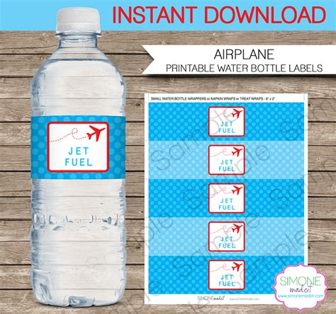 Airplane Party Water Bottle Labels Birthday Party Water Bottle Template