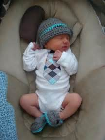 Baby boy coming home outfit tie shirt crochet loafers and crochet hat