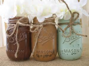 Blue Ball Barn Sale Set Of 3 Pint Mason Jars Ball Jars Painted Mason