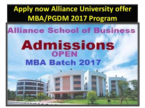 Bangalore Mba Admission 2017 by Alliance School Of Business Alliance Bangalore