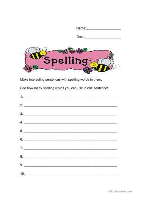 make sentences from your spelling words worksheet free