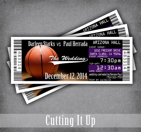Sports Theme Wedding Invitations by Basketball Wedding Ticket Invitation Basketball Wedding
