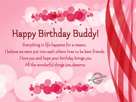 Birthday Quotes For Best Buddy Happy Birthday Buddy Everything In Life Happens For A