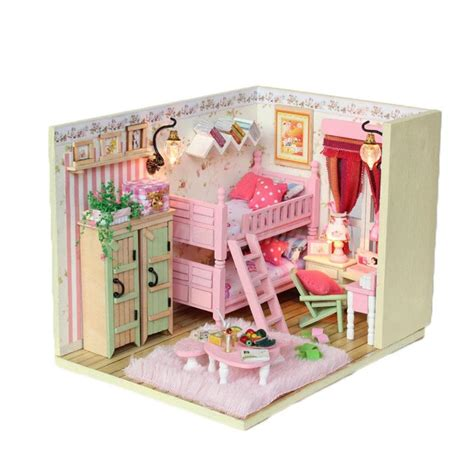 miniature doll house kits diy doll house girl s bedroom dollhouse miniatures furniture handcraft kits ebay