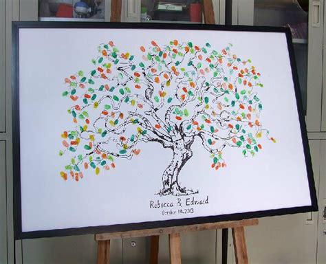 Guest Book Wedding Buku Tamu Custom 2018 canvas printing fingerprint wedding tree thumbprint wedding guest book tree unique guest