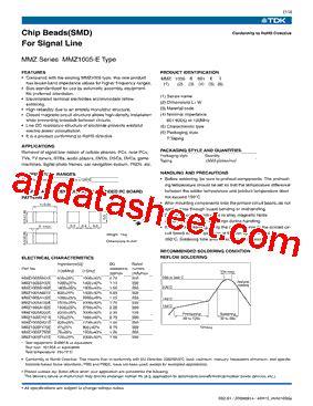 transistor a102 pdf mmz1005a102e datasheet pdf tdk electronics