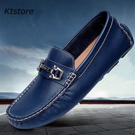 mens shoes genuine leather slip on loafers moccasins