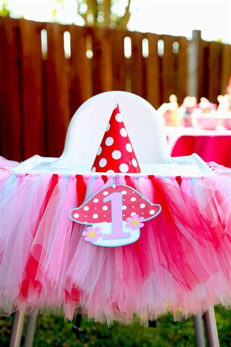 ikea birthday tulle skirt and toadstool tag on an ikea antilop highchair