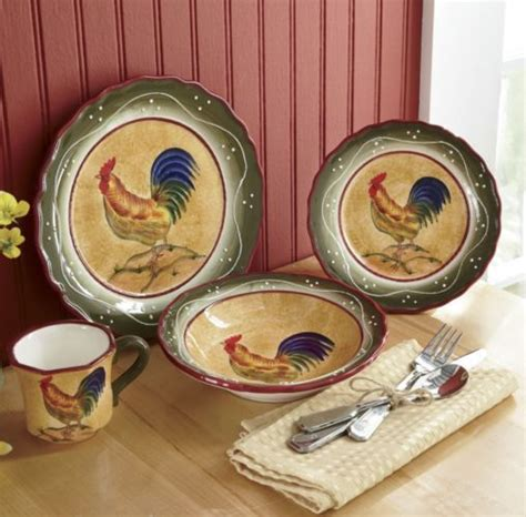 provence rooster dinnerware roosters hens pinterest