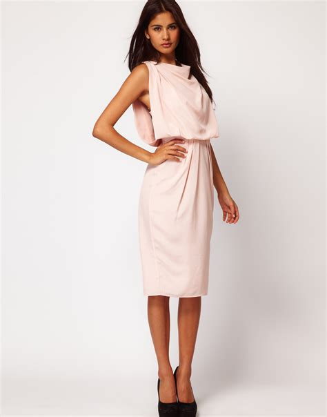 dress with drape asos asos drape dress with strap back in blue lyst