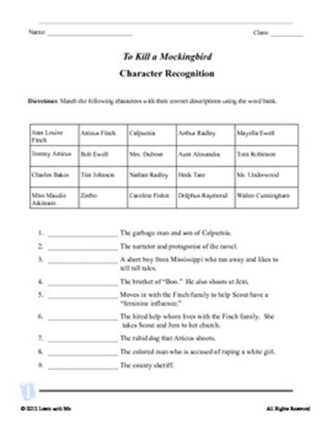 To Kill A Mockingbird Worksheets by To Kill A Mockingbird Character Recognition And Quote Test