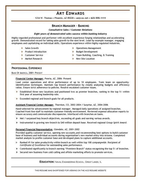 sample resume for bank jobs for freshers bank branch manager