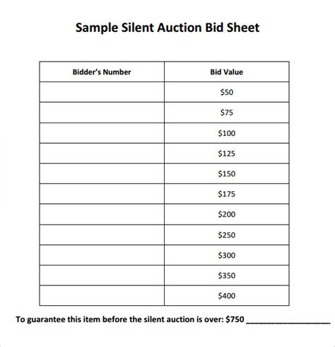 Silent Auction Bid Sheet Template Printable by Silent Auction Bid Sheet Template 9 Free