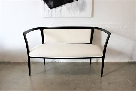 white settee bench sculptural open arm settee or bench ebonized with white