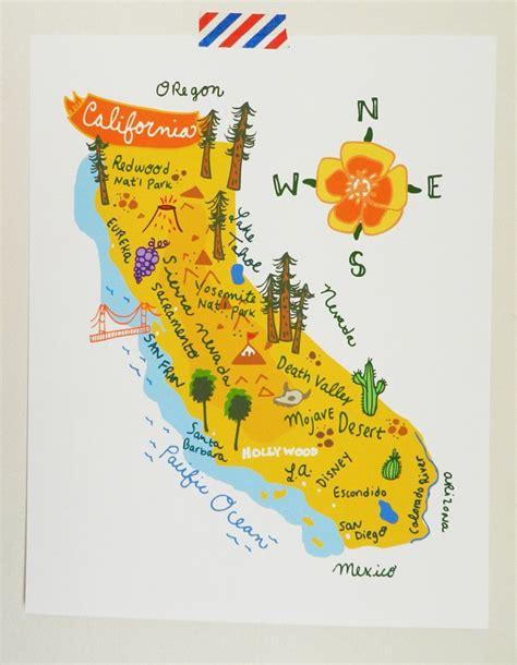 california map etsy california illustrated map