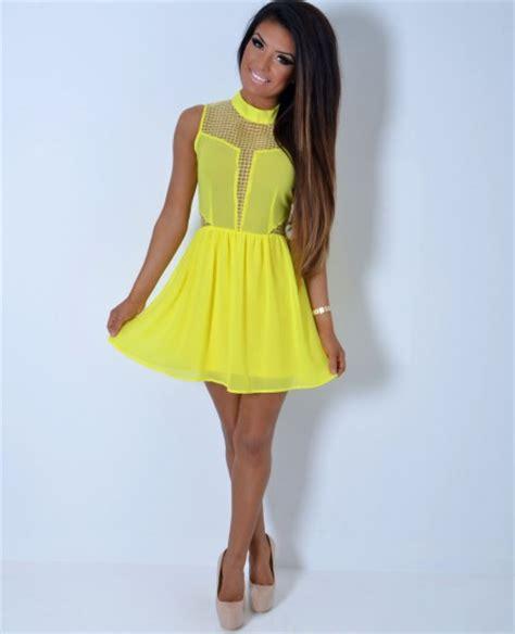 Affordable Duvet Canary Bright Yellow Chiffon Mesh Skater Dress