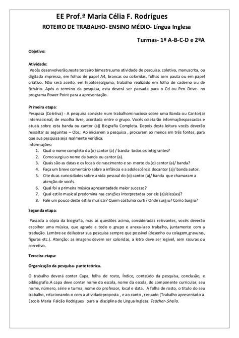 Roteiro de trabalho- Seminário Língua Inglesa