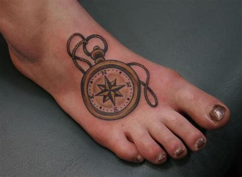 compass tattoo on ankle foot tattoos
