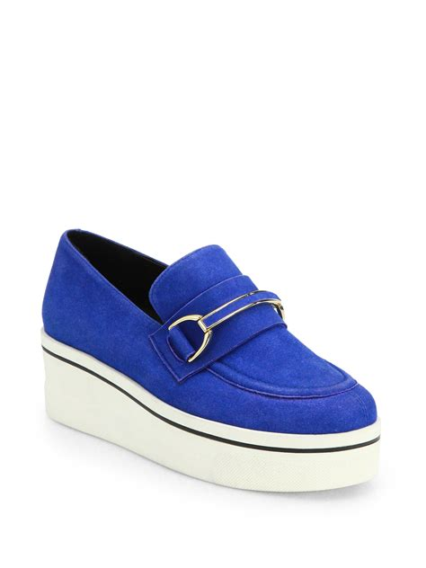 stella mccartney platform loafers stella mccartney faux suede platform loafers in blue blue