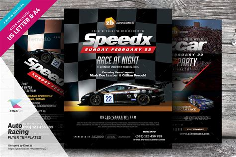 Auto Racing Flyer Templates By Kinzi21 Graphicriver Free Race Flyer Template