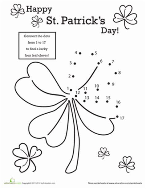kindergarten activities st patrick s day st patrick s day dot to dot worksheet education com