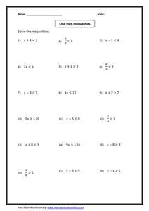one step inequalities 8th 9th grade worksheet lesson