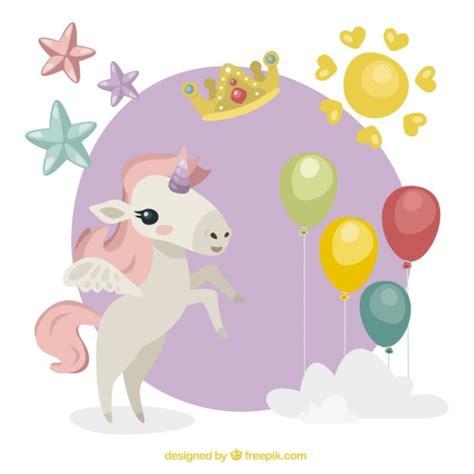 descargar imagenes de unicornios gratis adorable unicornio blanco con elementos bonitos