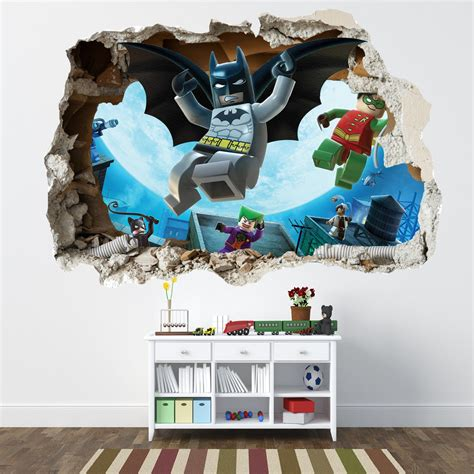lego stickers for wall lego batman smashed wall sticker bedroom boys