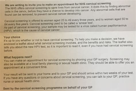 Appeal Letter Nhs What S New In The Cervical Screening Service The Appeal