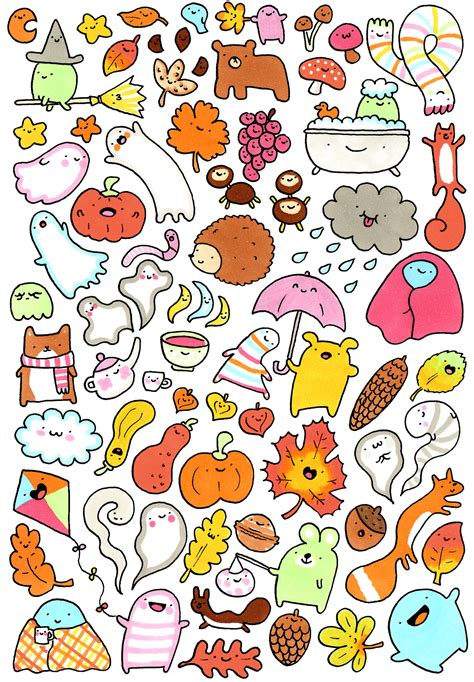 sticker doodle draw lots and lots of kawaii doodles 秋 drawing