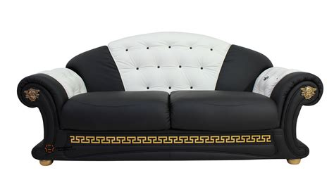 leather settee sofa versace 3 seater sofa settee genuine italian black white