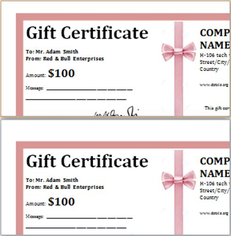 ms word professional gift certificates word excel