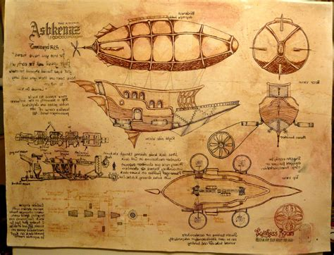 custom blueprints hand crafted steunk airship custom drawing painting by
